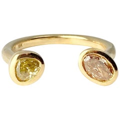 Debra Navarro Oval and Pear Diamond 18 Karat Yellow Gold Cuff Band Ring