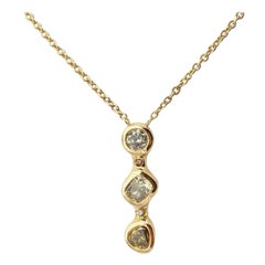 Debra Navarro Diamond and 18K Gold Three-Stone Line Pendant Necklace 1.08 Carat