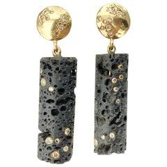 Debra Navarro Lava Bead and Diamond 18 Karat Yellow Gold Drop Dangle Earrings