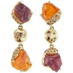 Debra Navarro Tourmaline Garnet and Diamond 18 Karat Yellow Gold Dangle Earrings