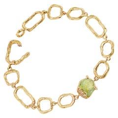 Debra Navarro Grossular Garnet and Diamond 18 Karat Yellow Gold Link Bracelet