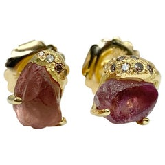 Debra Navarro Malaya Garnet and Diamond 18 Karat Gold Stud Earrings 7.64 Carat