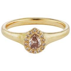 Debra Navarro Pear Diamond and 18 Karat Yellow Gold Halo Ring Signet Engagement