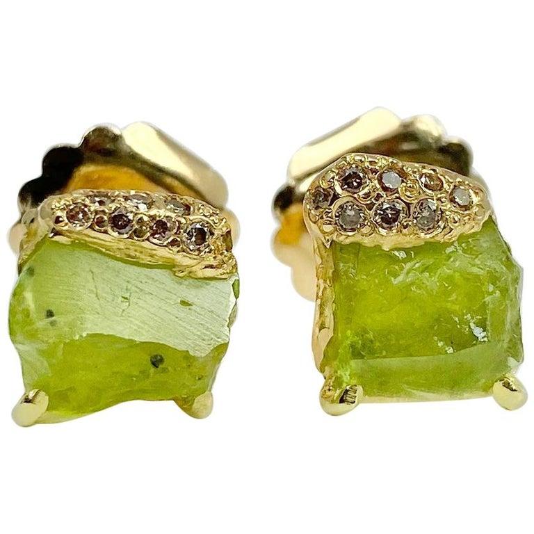 Debra Navarro Peridot and Diamond 18 Karat Gold Stud Earrings 3.44 Carat For Sale
