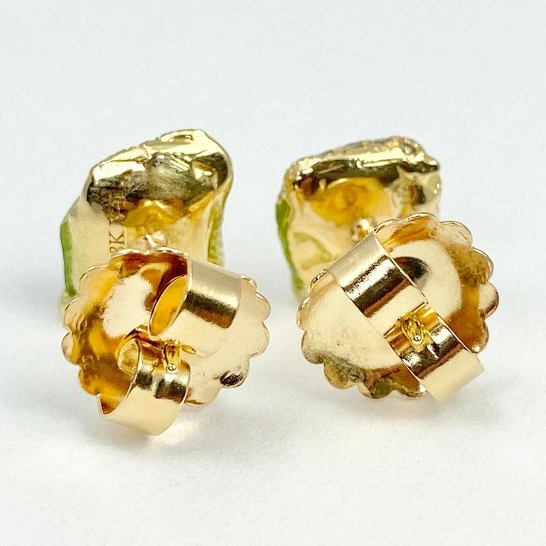 Debra Navarro Peridot and Diamond 18 Karat Gold Stud Earrings 3.44 Carat In New Condition For Sale In Wichita, KS