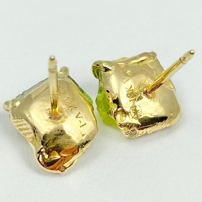 Women's Debra Navarro Peridot and Diamond 18 Karat Gold Stud Earrings 3.44 Carat For Sale