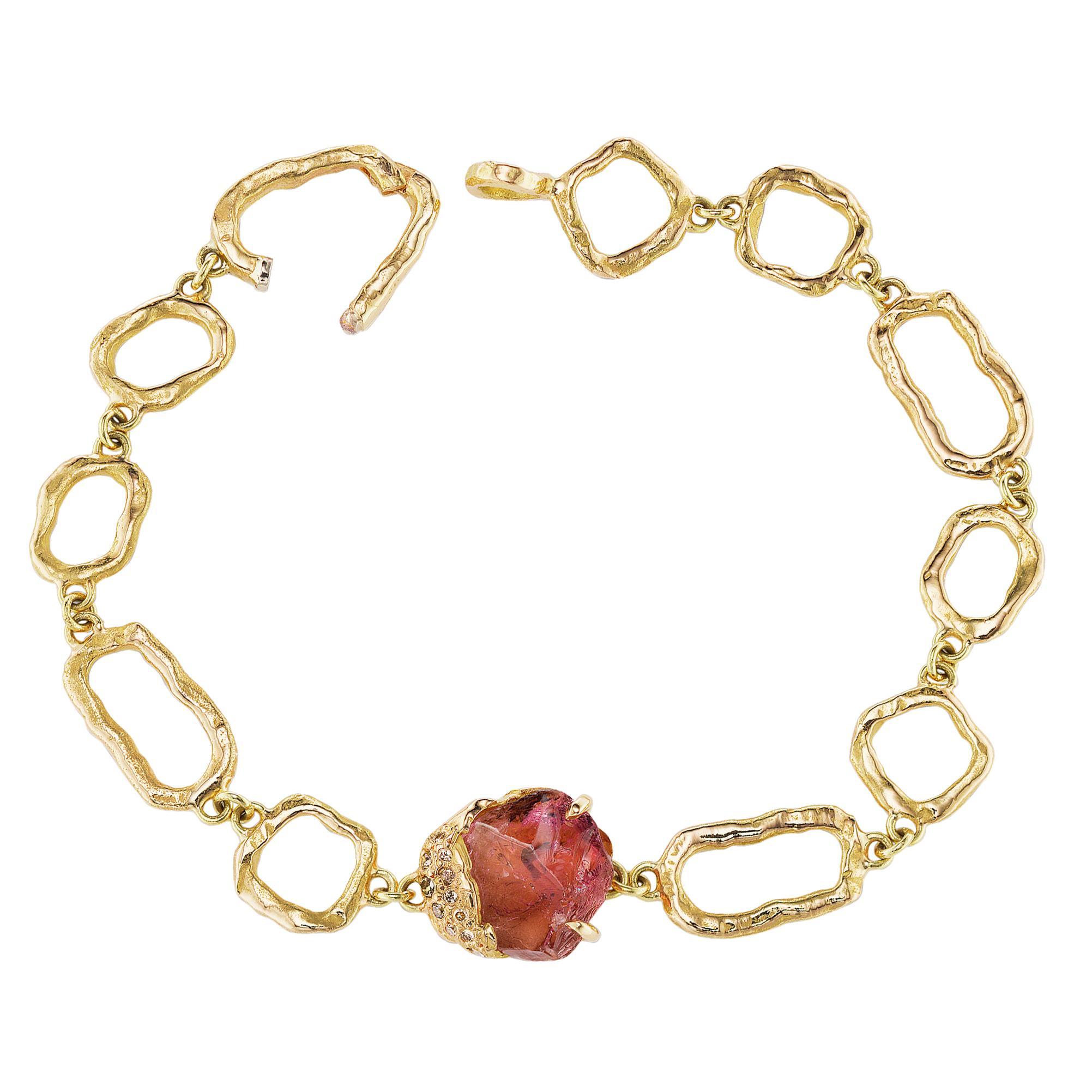 Debra Navarro Pink Tourmaline and Diamond 18 Karat Yellow Gold Link Bracelet
