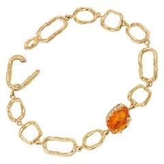 Debra Navarro Spessartine Garnet and Diamond 18 Karat Yellow Gold Link Bracelet