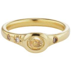 Debra Navarro Oval Yellow Diamond 18 Karat Gold Pinky Band Ring 0.25 Carat Bezel