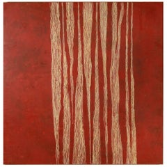 "Debra Ramsay ""Bamboo Variation with Red"" Modern Encaustic Painting"
