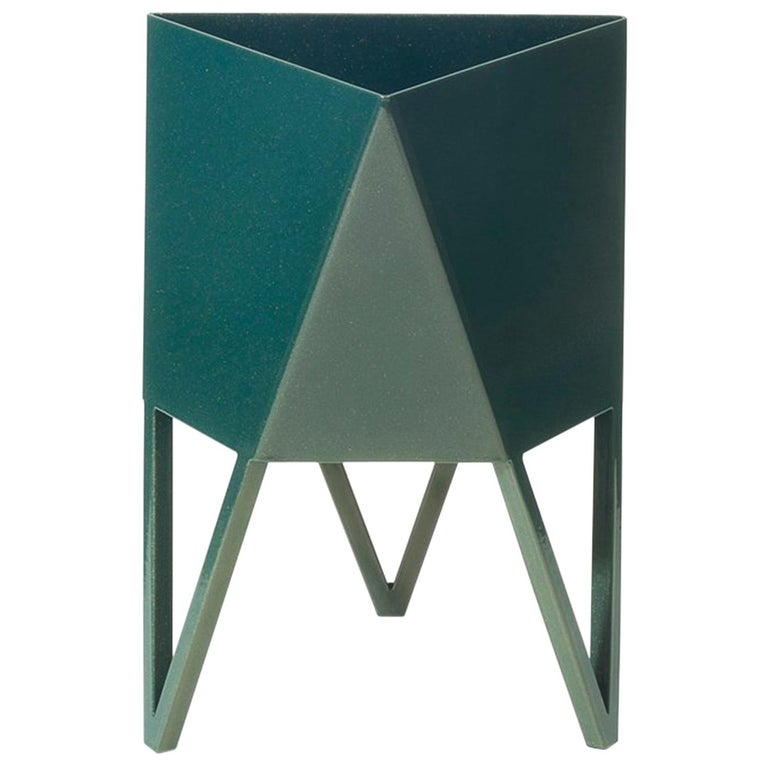Deca Planter in Bluegreen Steel, Mini, by Force/Collide For Sale