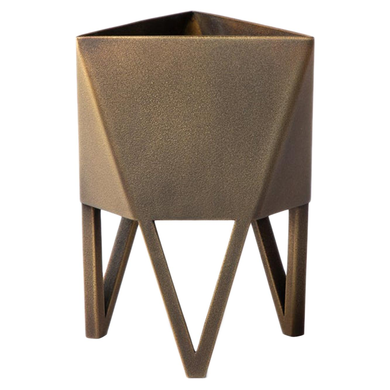Large Deca Planter in Antique Brass by Force/Collide