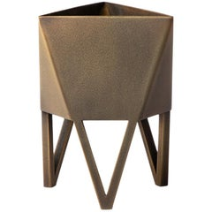 Deca Planter in Brass Flamespray, Mini, Force/Collide