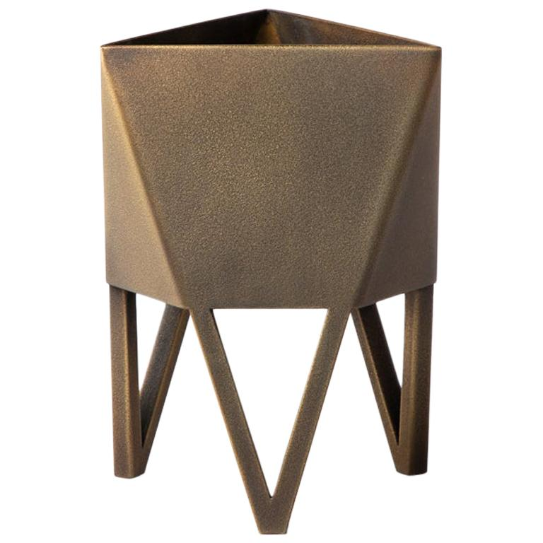 Small Deca Planter in Antique Brass by Force/Collide