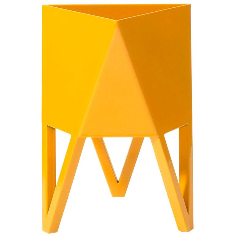 Deca Planter in Daffodil Yellow Steel, Medium by Force/Collide For Sale