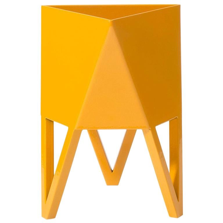 Deca Planter in Daffodil Yellow Steel, Mini by Force/Collide For Sale