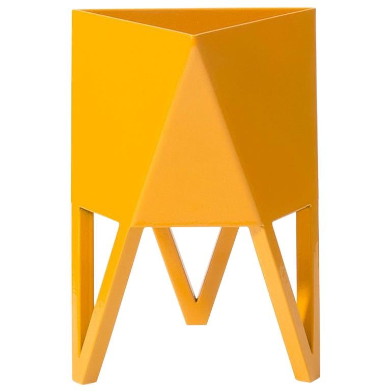 Deca Planter in Daffodil Yellow Steel, Small, by Force/Collide For Sale