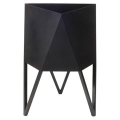 Large Deca Planter in Matte Black by Force/Collide, Indoor/Outdoor Steel