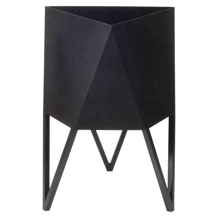 Deca Planter in Flat Black Steel, Large, by Force/Collide For Sale