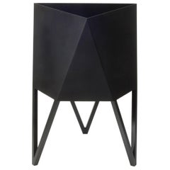 Medium Deca Planter in Matte Black by Force/Collide, Indoor/Outdoor Steel