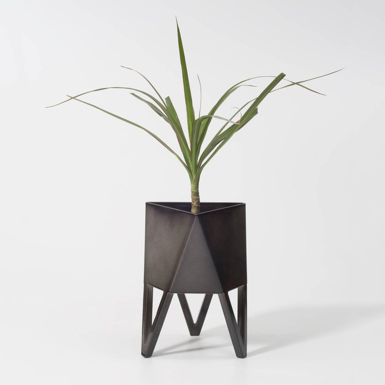 Contemporary Deca Planter in Flat Black Steel, Mini, by Force/Collide For Sale