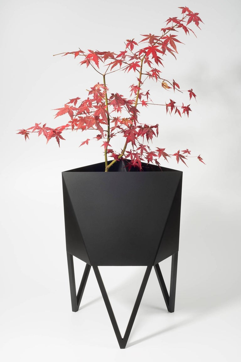 Introducing Force/Collide's signature planter in flat black. Using a seamless brake-forming technique, one sheet of steel is wrapped into a unique geometric pattern that's triangular at the top and hexagonal at the base. Three V-shaped legs
