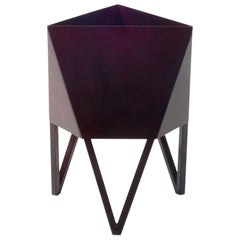 Deca Planter in Glossy Maroon Steel, Small, by Force/Collide
