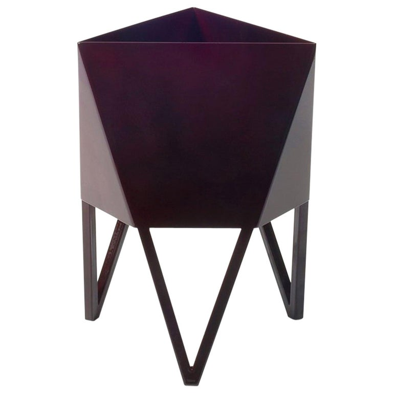 Deca Planter in Glossy Maroon Steel, Small, by Force/Collide For Sale