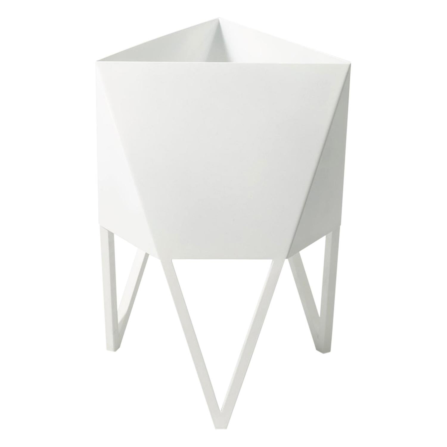 Small Deca Planter in Glossy White by Force/Collide, Indoor/Outdoor Steel