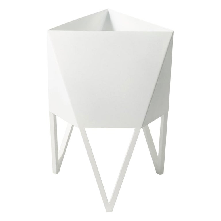 Deca Planter in Glossy White Steel, Small, by Force/Collide For Sale