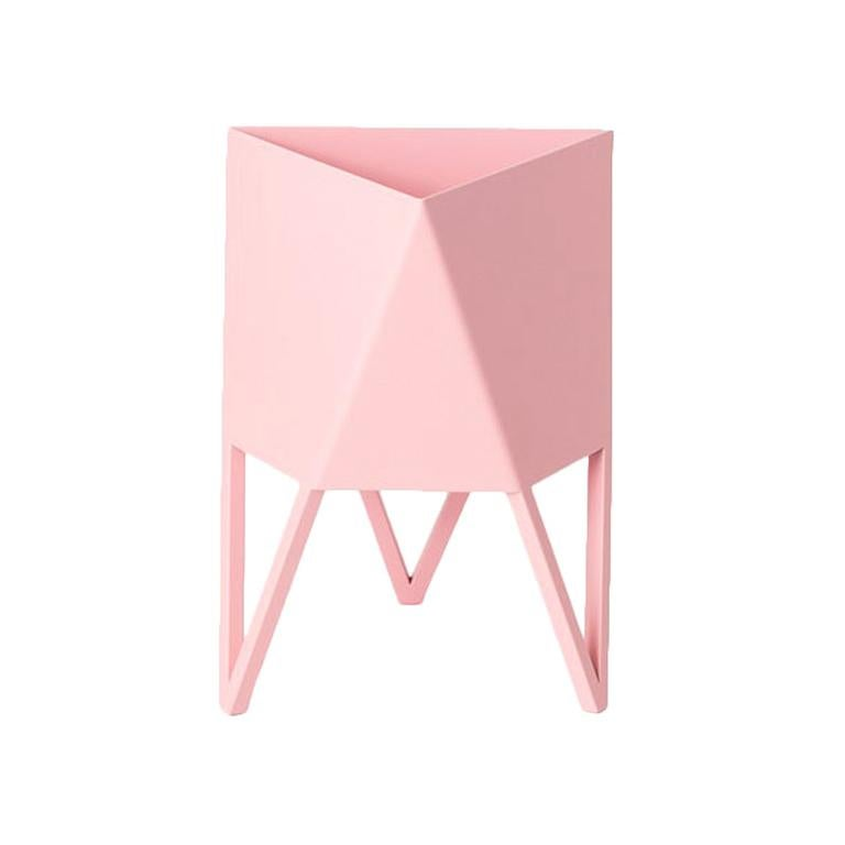 Deca Planter in Light Pink Steel, Large, by Force/Collide For Sale