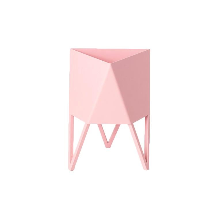 Deca Planter in Light Pink Steel, Mini, Force/Collide For Sale