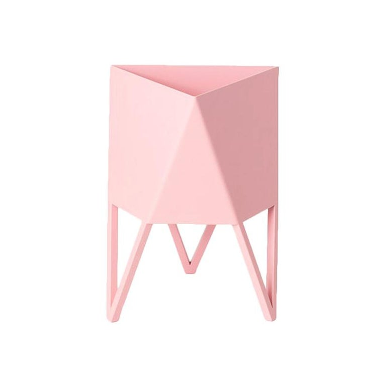 Deca Planter in Light Pink Steel, Small, by Force/Collide For Sale