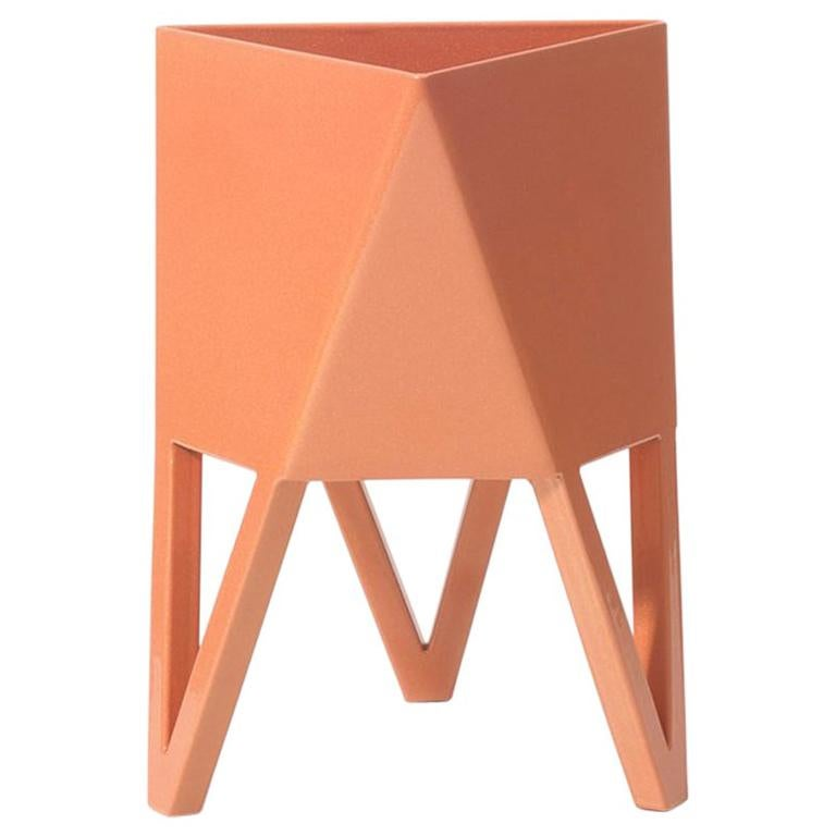 Deca Planter in Living Coral Steel, Medium, by Force/Collide For Sale