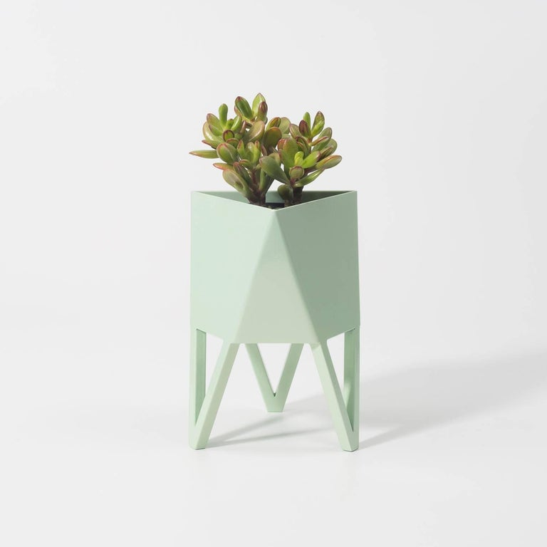 Introducing Force/Collide's signature planter in flat pastel green. Using a seamless brake-forming technique, one sheet of steel is wrapped into a unique geometric pattern that's triangular at the top and hexagonal at the base. Three V-shaped legs