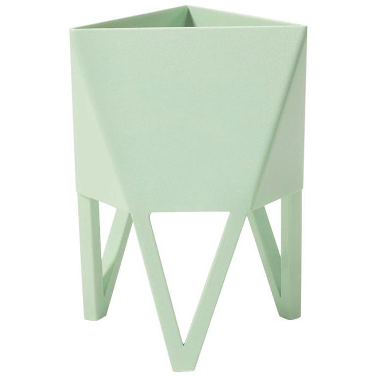 Deca Planter in Pastel Green Steel, Medium, by Force/Collide For Sale