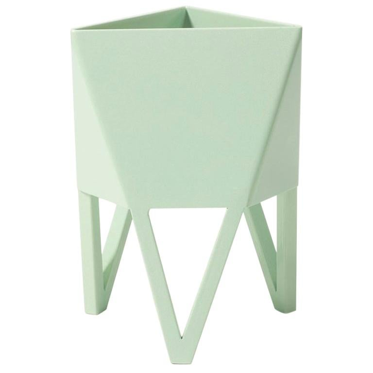 Deca Planter, Pastel Green Steel, Small, by Force/Collide For Sale