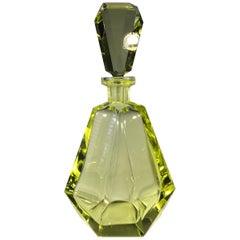 Decadent Art Deco Vogue, Faceted Chartreuse Czech Crystal Decanter