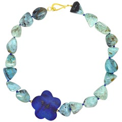 Decadent Jewels African Blue Opal Lapis Lazuli Gold Necklace