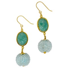 Decadent Jewels Amazonite Aquamarine Gold Drop Earrings