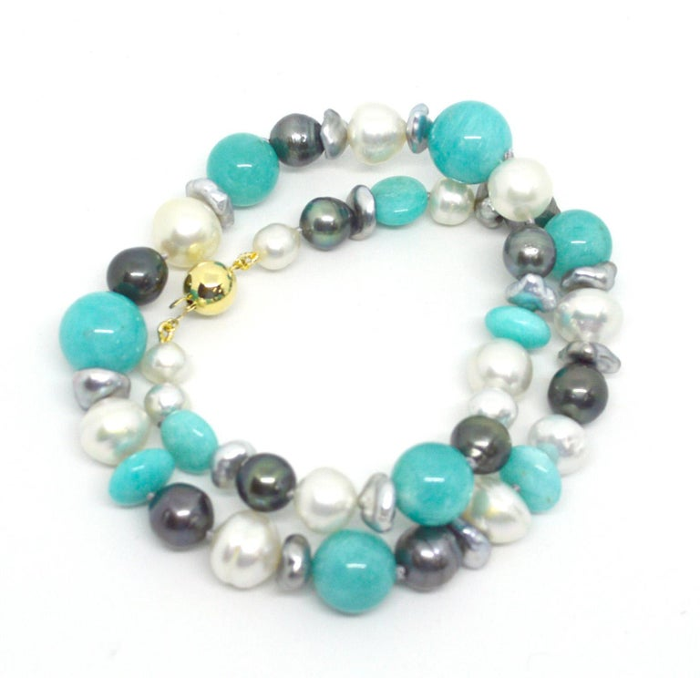 Modern Decadent Jewels Amazonite Australian South Sea Tahitian Pearl 14k Gold Necklace For Sale