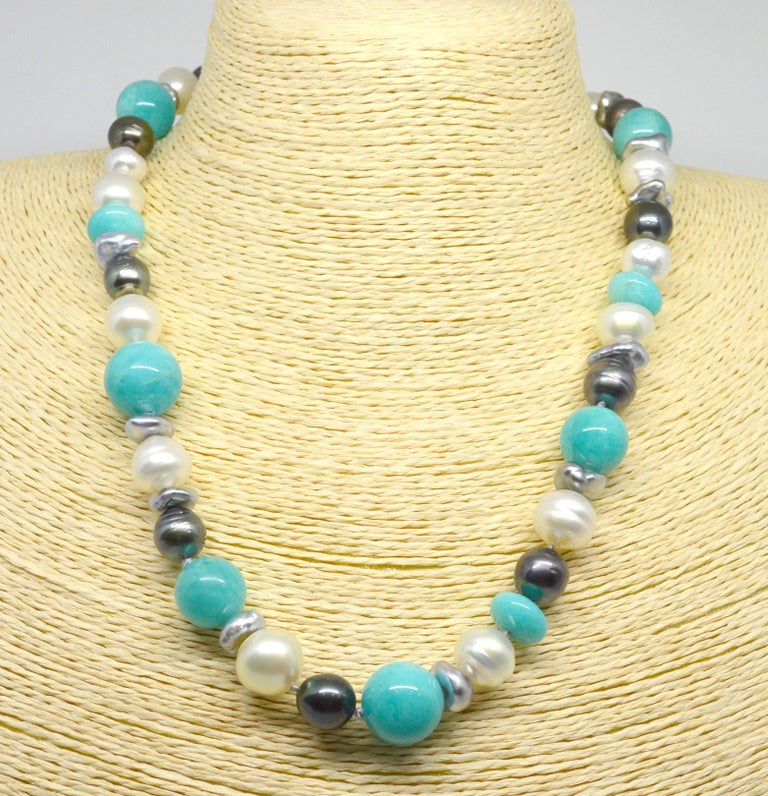 Decadent Jewels Amazonite Australian South Sea Tahitian Pearl 14k Gold Necklace In New Condition For Sale In Sydney, AU