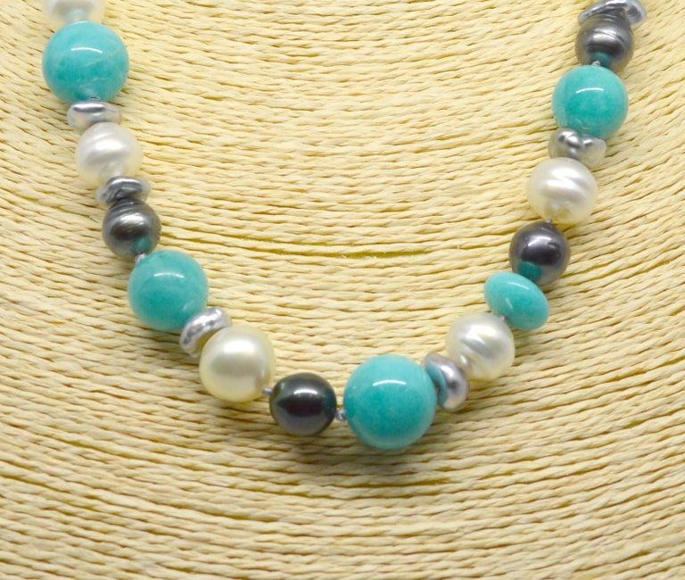 Women's Decadent Jewels Amazonite Australian South Sea Tahitian Pearl 14k Gold Necklace For Sale