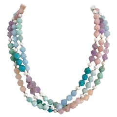 Decadent Jewels Amazonite Morganite Blue Lace Amethyst Pearl Silver Necklace