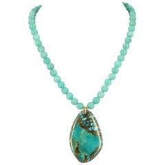 Decadent Jewels Amazonite Turquoise Gold Necklace