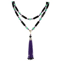 Decadent Jewels Amethyst Chrysophase Spinal Onyx Sautoir Tassel Gold filled