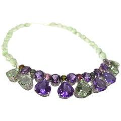 Decadent Jewels Amethyst Prasiolite Tourmaline Riviere Silver Necklace