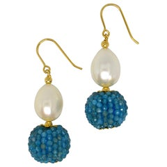 Decadent Jewels Apatite Fresh Water Pearl Gold Drop Earrings