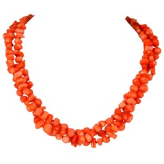 Decadent Jewels Apricot Coral Torsade Silver Necklace