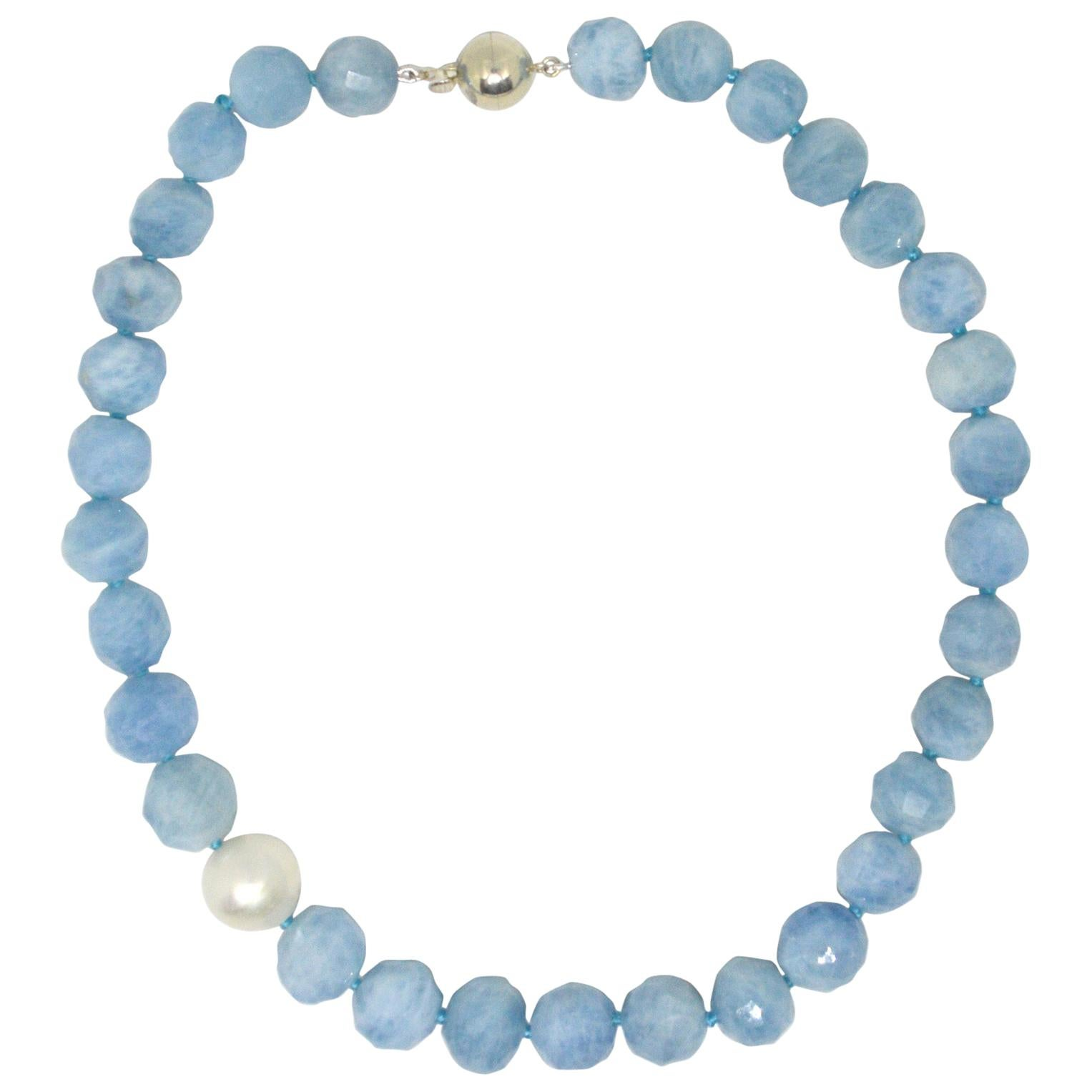 Decadent Jewels Aquamarine Australian South Sea Pearl Silver Necklace